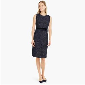 J Crew navy dress w/ gold fringe, velvet waistband